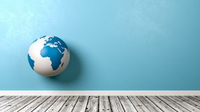 Earth Globe Against Wall in a Room royalty free illustration