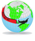 Earth globe with airplane Royalty Free Stock Photos
