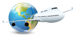 Earth globe and airplane Stock Photos