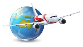 Earth globe and airplane Royalty Free Stock Photography