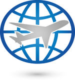 Earth globe and airplane, transportation and travel logo. Earth globe and airplane, colored, transportation and travel logo Stock Images