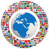 Earth globe with all flags. Blue Earth globe with all flags Stock Image