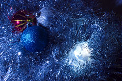 Earth globe America with Christmas background blue royalty free stock photos