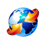 Earth Globe with an Arrow. 3d Style Earth Globe with an Arrow showing a recycle concept Royalty Free Stock Image