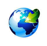 Earth Globe with an Arrow. 3d Style Earth Globe with an Arrow showing a recycle concept Royalty Free Stock Images
