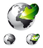 Earth Globe with an Arrow. 3d Style Earth Globe with an Arrow showing a recycle concept Royalty Free Stock Photos