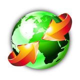 Earth Globe with an Arrows. 3d Style Earth Globe with an Arrows showing a recycle concept Stock Photos