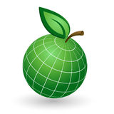 Earth Globe as Apple Symbol. Ecology Concept with Earth Globe like Green Apple Royalty Free Stock Photos