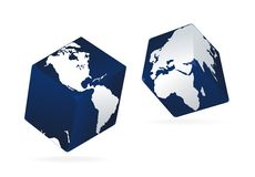 Earth globe as dice in black Stock Image