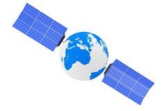 Earth Globe as Satelite. 3d Rendering. Earth Globe as Satelite on a white background. 3d Rendering royalty free illustration