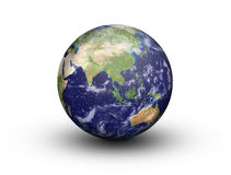 Earth Globe - Asia and Australia. Earth Globe in 3D showing Asia and Australia in high resolution, isolated on a white background with clipping path Stock Photography