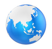 Earth Globe Asia View Isolated Royalty Free Stock Photography