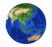Earth Globe Asia View Isolated. On white background. 3D render Stock Photography