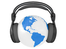 Earth globe with audio headphones Royalty Free Stock Photos