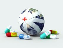 Earth globe bandaged. The sick earth globe completely bandaged - digital artwork Stock Photo