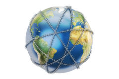 Earth globe with barbed wire, 3D rendering. Earth globe with barbed wire Royalty Free Stock Image