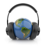 Earth globe with black audio headphones 3D Royalty Free Stock Photography
