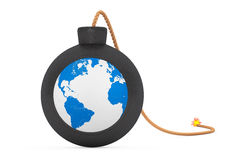 Earth Globe in Black Bomb with Wick. 3d Rendering Stock Images