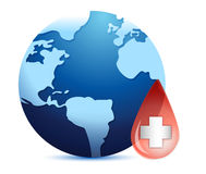 Earth globe in a blood drop Stock Photos