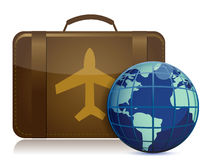 Earth globe and brown luggage Stock Images