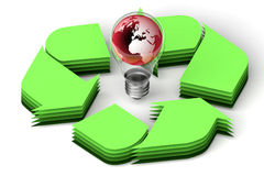 Earth globe in bulb recycle concept Stock Images