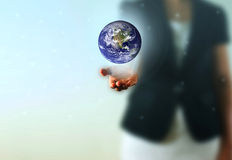Earth globe in the Business woman hand Stock Photo