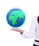 Earth globe in business woman hand Stock Image