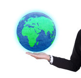 Earth globe in business woman hand Royalty Free Stock Photos