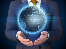 Earth globe and businessman. Businessman with an Earth globe floating over his hands. 3D illustration Royalty Free Stock Photography