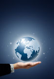 Earth globe in businessman hand Royalty Free Stock Image