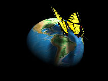 Earth globe and butterfly Royalty Free Stock Image