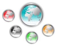 Earth globe button vector. Royalty Free Stock Photo