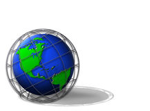 Earth globe in cage Stock Photo