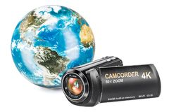 Earth Globe with camcorder, 3D rendering. Isolated on white background Stock Images
