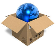 Earth globe in cardboard box Stock Image