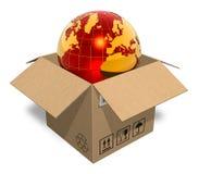 Earth globe in cardboard box Stock Photography