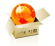 Earth globe in cardboard box Royalty Free Stock Photo