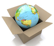 Earth globe in cardboard box Stock Photos