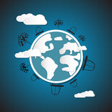 Earth, Globe with Cars, Clouds, Trees. Blue Paper Planet Earth, Globe with Cars, Clouds, Trees Royalty Free Stock Photo