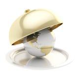 Earth globe on ceramic salver under a golden food cover. Earth globe on glossy ceramic salver dish under a golden food cover over isolated on vector illustration