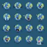 Earth globe character emoji set Stock Photo