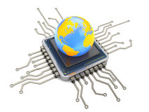 Earth globe on chip. 3d illustration of computer chip and earth globe Stock Photo