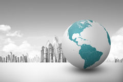 Earth globe with city background Royalty Free Stock Photo