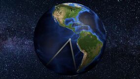 Earth globe clock Americas 12 hour 3D animation