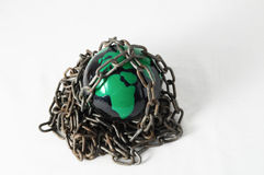 Earth globe close in chain. 3d... Earth globe close in chain and padlock Stock Photography