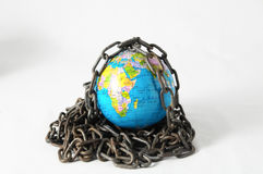 Earth globe close in chain. 3d... Earth globe close in chain and padlock Stock Photo