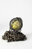 Earth globe close in chain. 3d... Royalty Free Stock Image