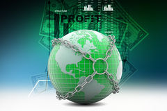 Earth globe close in chain Royalty Free Stock Image