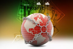 Earth globe close in chain Royalty Free Stock Photos