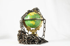 Earth globe close in chain. 3d... Earth globe close in chain and padlock Stock Photos